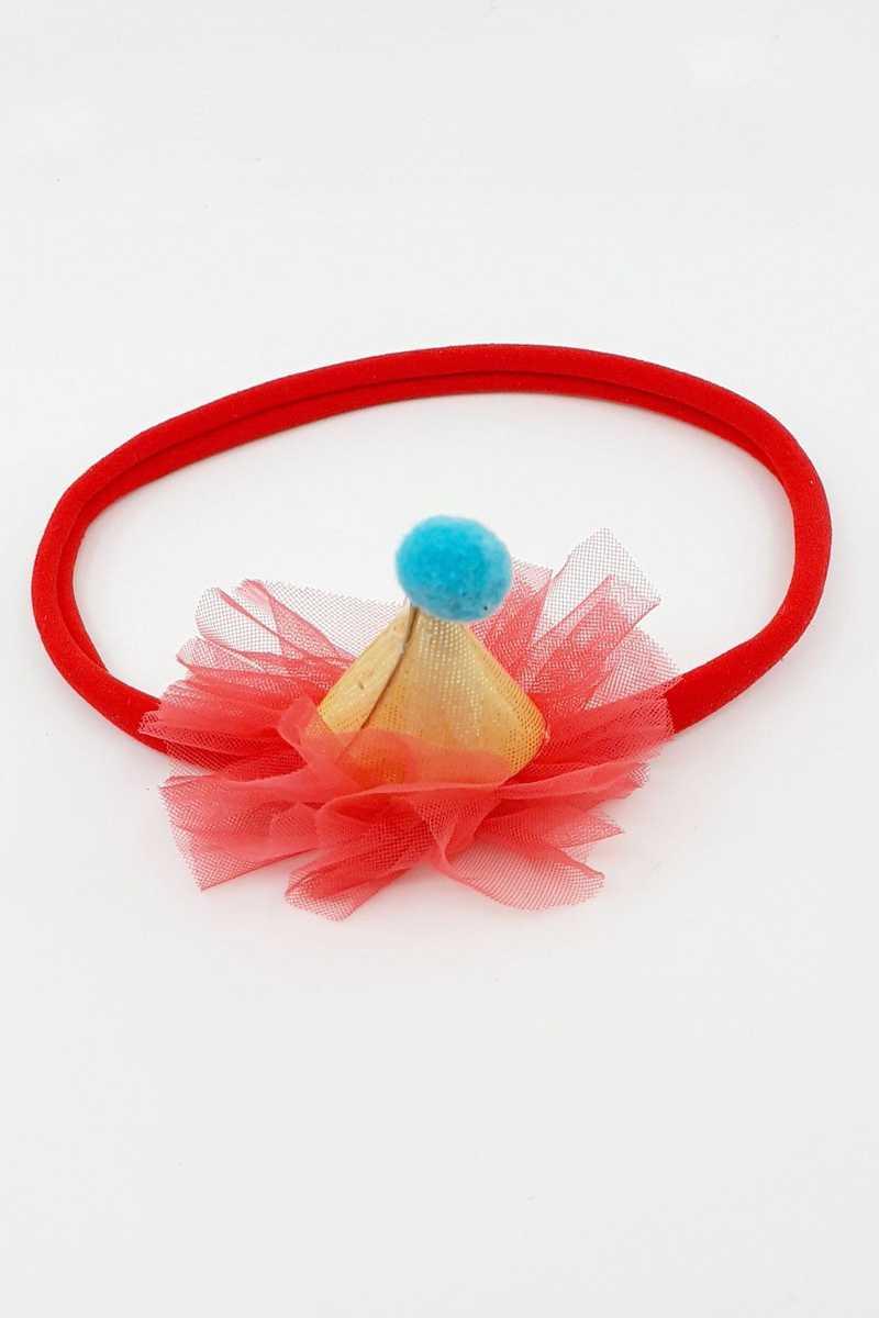 Arzu Kız Çocuk Alın Bandı Ponponlu Kukuleta Model (12 adet) - Thumbnail