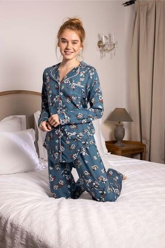 AYDOĞAN - Aydoğan Kadın Pijama Takımı Uzun Kol Boydan Düğmeli Çiçek Desenli