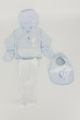 BEBİTOF - Bebitof Unisex Bebek 5'li Zıbın Set Balonlu Tavşan