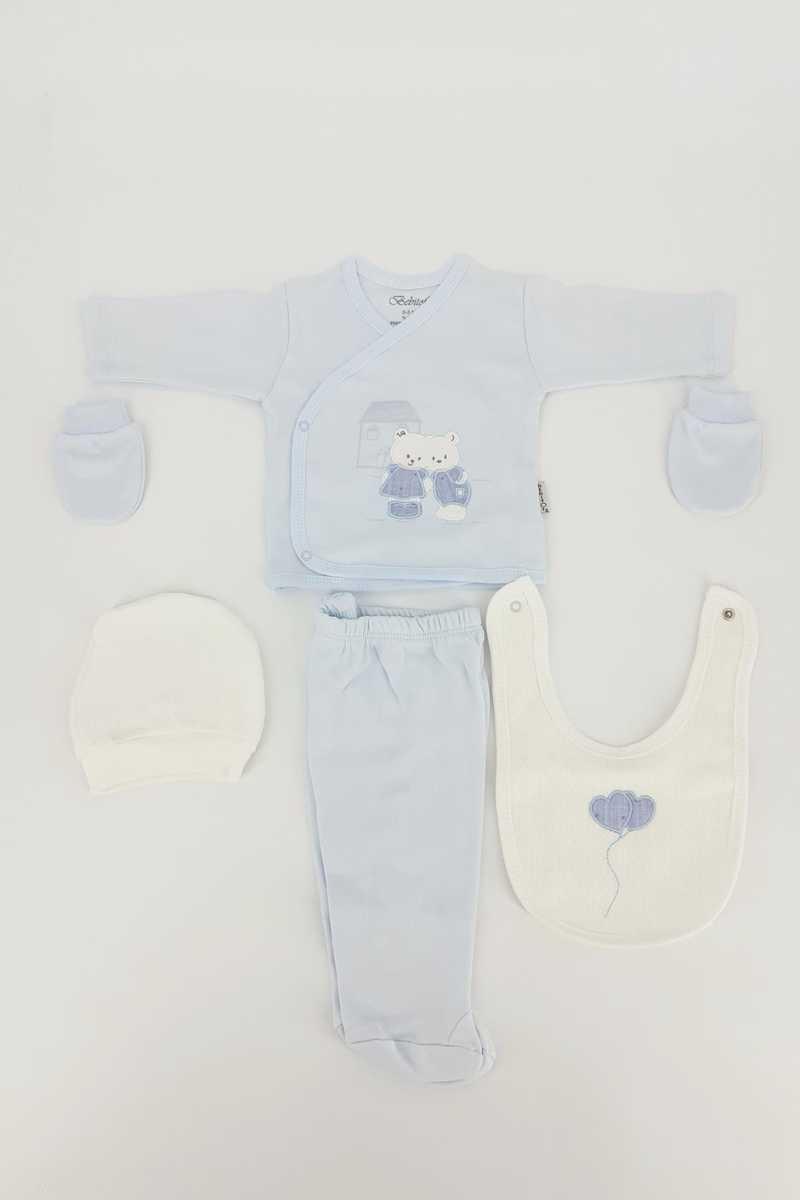 Bebitof Unisex Bebek 5'li Zıbın Set Evli Ayıcık - Thumbnail
