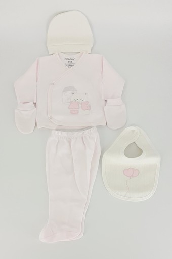 BEBİTOF - Bebitof Unisex Bebek 5'li Zıbın Set Evli Ayıcık