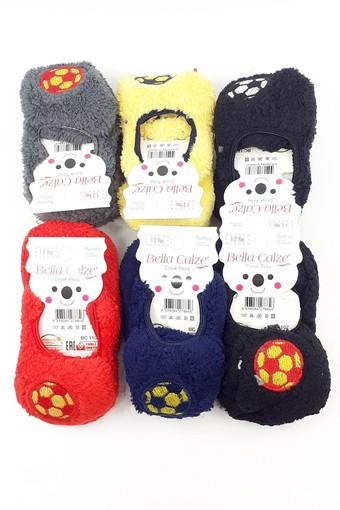 BELLA CALZE - Bella Calze Erkek Çocuk Babet Çorap Peluş Futbol Topu Figürlü (12 adet)