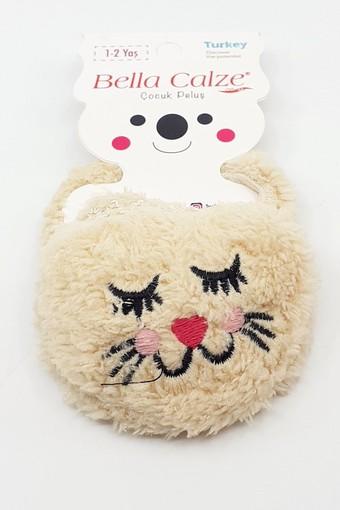 BELLA CALZE - Bella Calze Kız Çocuk Babet Çorap Peluş Kedi Figürlü (12 adet) (1)