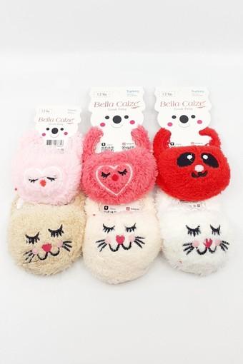 BELLA CALZE - Bella Calze Kız Çocuk Babet Çorap Peluş Kedi Figürlü (12 adet)