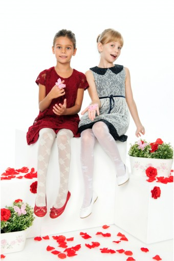 ORAL - Bella Calze Kız Çocuk İnce Külotlu Çorap Tina Fit Desenli Parlak 30 Denye (6 adet)