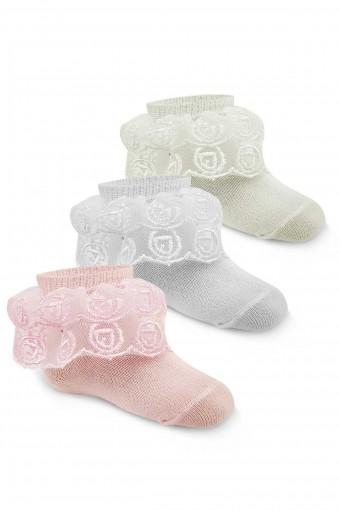 Bella Calze Kız Çocuk Soket Çorap Dantelli Rose (12 adet) - Thumbnail
