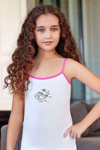 Berrak Kız Çocuk Atlet İp Askılı Desenli - Thumbnail