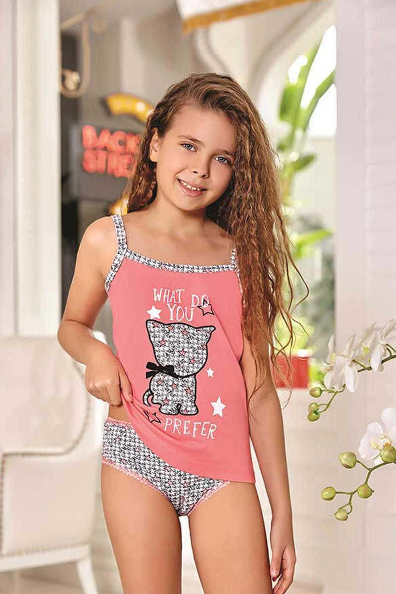 Berrak Kız Çocuk Atlet ve Külot Takımı İp Askılı Kedili