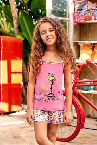 BERRAK - Berrak Kız Çocuk Şortlu Takım İp Askılı Çiçekli Hayvan Baskılı