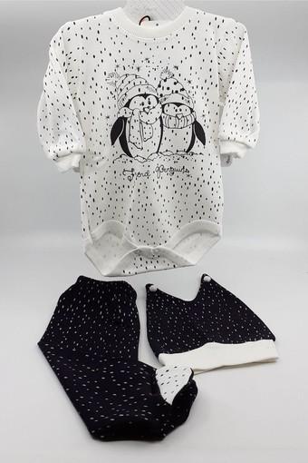 BİBERON BEBE - Biberon Bebe Unisex Bebek 3 lü Body Takım Puanlı Penguen Desenli (2 adet)