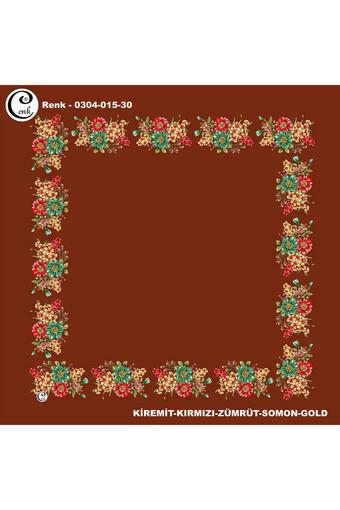 Cenk Kenarları Desenli Yazma İthal Kumaş 90x90 Cm - Thumbnail