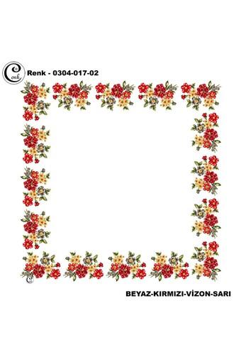 CENK YAZMA - Cenk Kadın Yazma Desen 017 Baskılı Ortası Boş 90x90 (1)