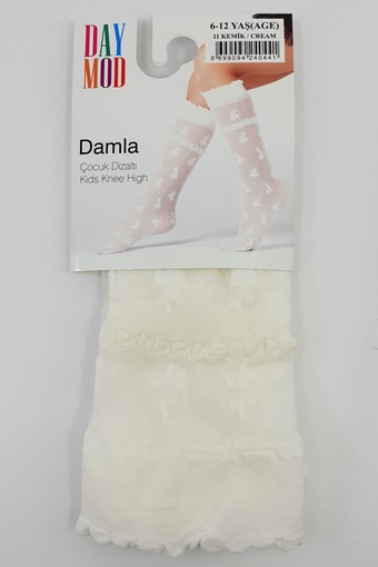 DAYMOD ÇORAP - Daymod Kız Çocuk İnce Dizaltı Çorap Damla Desenli (12 adet) (1)