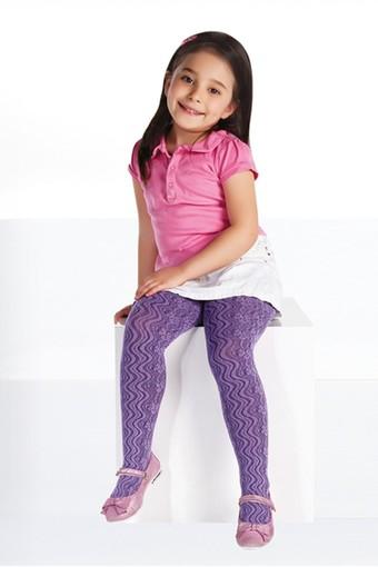 DAYMOD ÇORAP - Daymod Kız Çocuk İnce Külotlu Çorap Lila File Desenli (6 adet) (1)