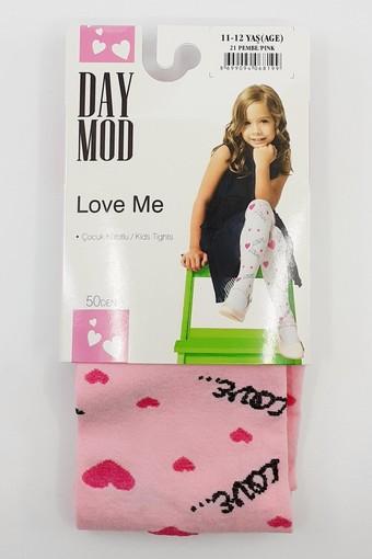 DAYMOD ÇORAP - Daymod Kız Çocuk İnce Külotlu Çorap Love Me Desenli Mikro (6 adet) (1)