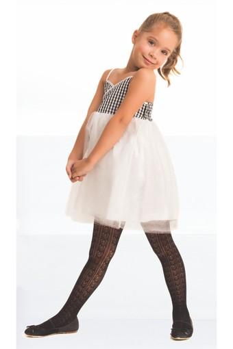 DAYMOD ÇORAP - Daymod Kız Çocuk İnce Külotlu Çorap Orietta File Desenli (6 adet) (1)