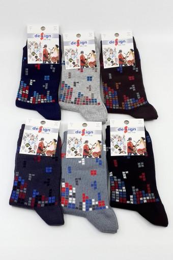 Design Erkek Çocuk Soket Çorap Tetris Likralı - Thumbnail