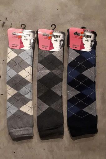 DESİGN - Design Kadın Dizaltı Pantolon Çorap Ekose Havlu (6 adet)
