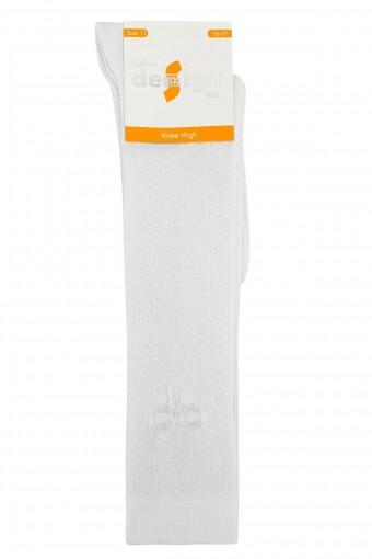 Design Kız Çocuk Dizaltı Çorap Fiyonk Kabartmalı Beyaz