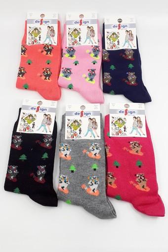 DESİGN - Design Kız Çocuk Soket Çorap Çam Ayı Likralı (12 adet)