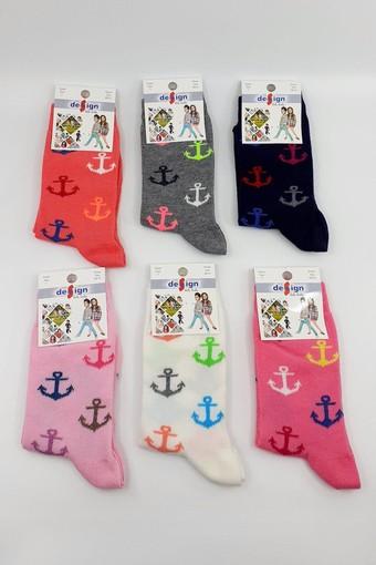 DESİGN - Design Kız Çocuk Soket Çorap Likralı Renkli Çapa (12 adet)