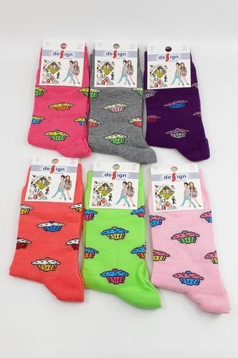 DESİGN - Design Kız Çocuk Soket Çorap Top Kek Likralı (12 adet)