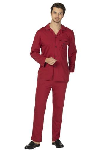 DS DAMAT - Ds Damat Erkek Pijama Takımı Uzun Kol Boydan Düğmeli Comfort