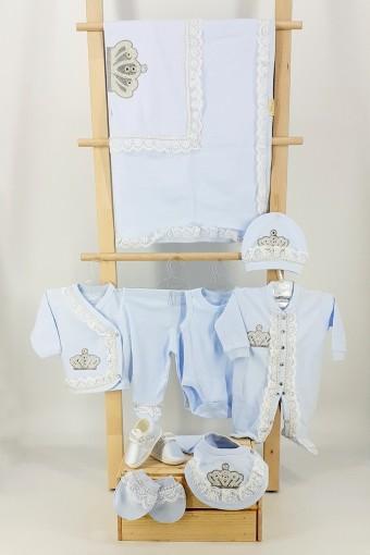 EDA BEBE - Eda Baby Unisex Bebek 10'lu Zıbın Set Dantelli Taşlı