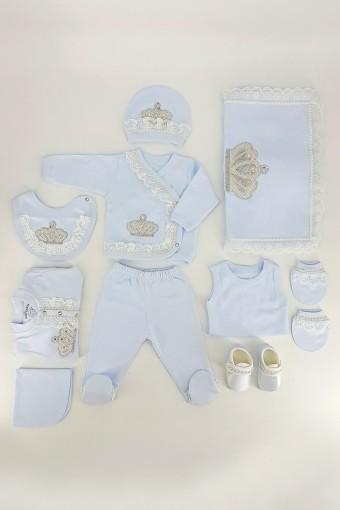 EDA BEBE - Eda Baby Unisex Bebek 10'lu Zıbın Set Dantelli Taşlı (1)