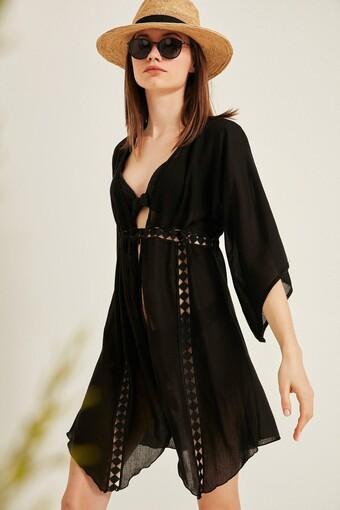 Endeep Kadın Pareo-Plaj Elbisesi Fakir Kol Şerit Motifli Kısa Önden Bağlamalı - Thumbnail