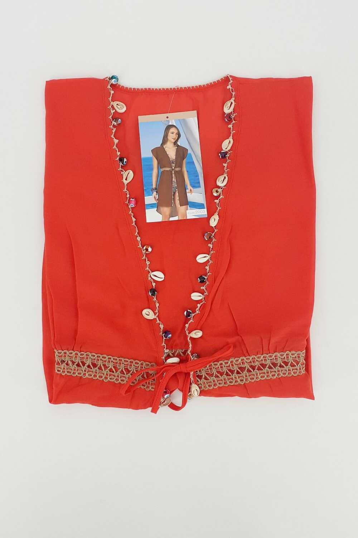 Endeep Kadın Pareo-Plaj Elbisesi Sıfır Kol Boncuklu Arkası Uzun Belden Bağlamalı - Thumbnail