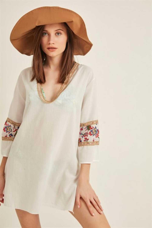 Endeep Kadın Pareo-Plaj Elbisesi Uzun Kol Çiçek Desenli Kısa - Thumbnail