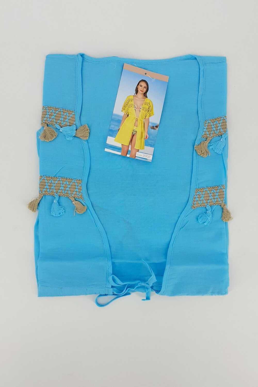Endeep Kadın Pareo-Plaj Elbisesi Yarım Kol Püsküllü Kısa Belden Bağlamalı - Thumbnail