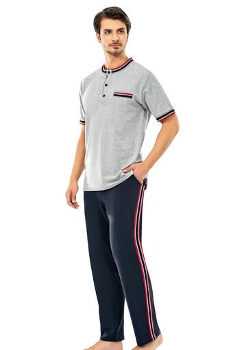 ERDEM - Erdem Erkek Pijama Takımı Kısa Kol Üç Düğmeli Çizgili (1)