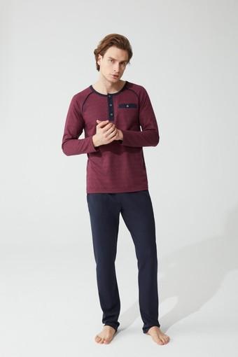 FEYZA - Feyza Erkek Pijama Takımı Uzun Kol Desenli 3 Düğmeli FEYZA3802