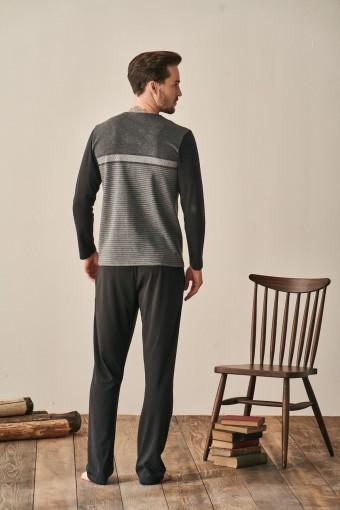 FEYZA - Feyza Erkek Pijama Takımı Battal Uzun Kollu V Yaka Boydan Düğmeli (1)