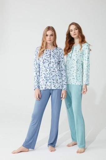 FEYZA - Feyza Kadın Pijama Takımı Uzun Kol Yapraklı Çiçek Desenli 4 Düğmeli