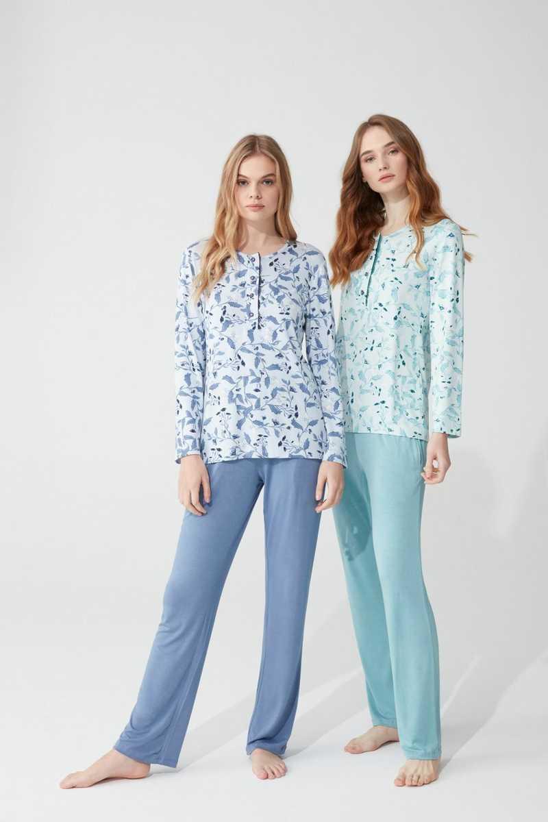 Feyza Kadın Pijama Takımı Uzun Kol Yapraklı Çiçek Desenli 4 Düğmeli - Thumbnail