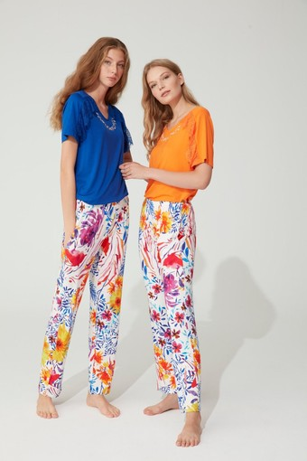 FEYZA - Feyza Kadın 2'li Pijama Takımı Yarım Kol Çiçek Desenli Dantelli