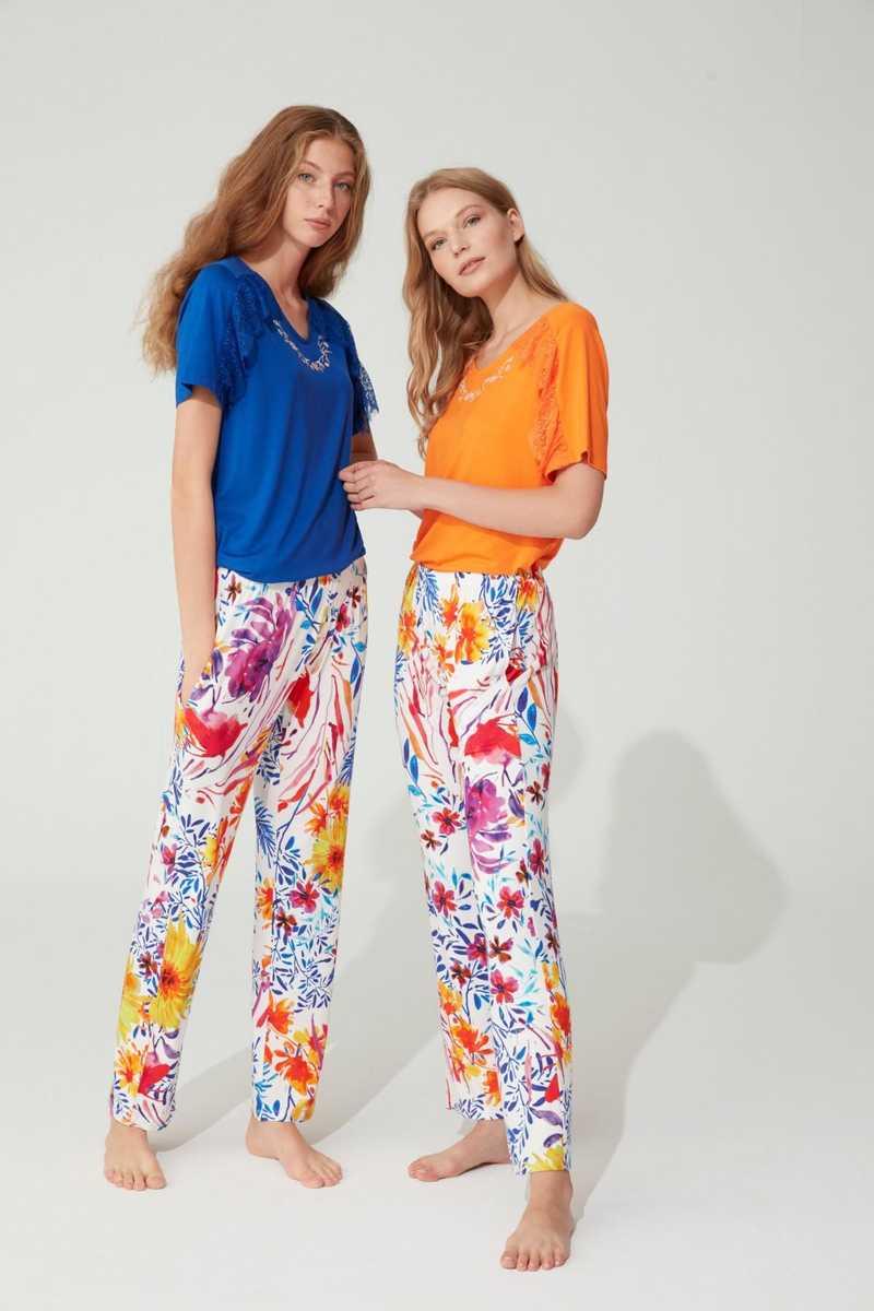 Feyza Kadın Pijama Takımı Yarım Kol Çiçek Desenli Dantelli - Thumbnail