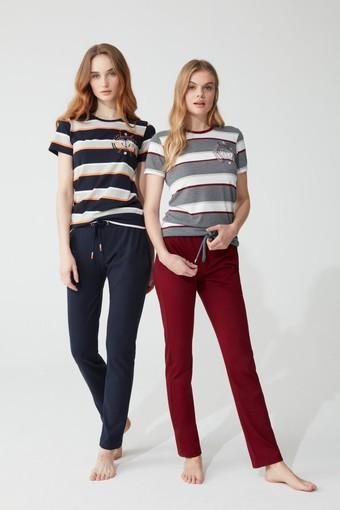 FEYZA - Feyza Kadın Pijama Takımı Yarım Kol Çizgili Çapa Desenli