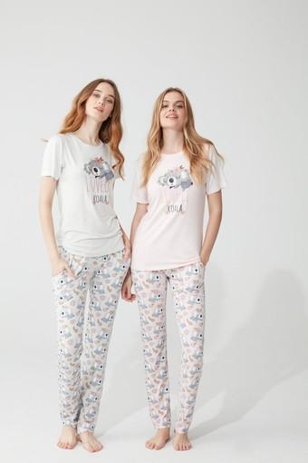 Feyza Kadın Pijama Takımı Kısa Kol Lovely Koala Desenli - Thumbnail
