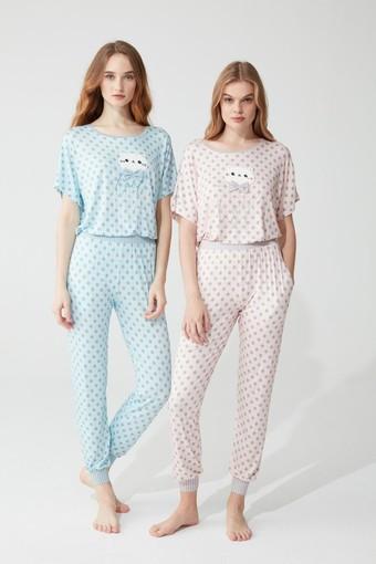 FEYZA - Feyza Kadın Pijama Takımı Yarım Kol Papyonlu Kedi Desenli Puantiyeli Paça Manşetli