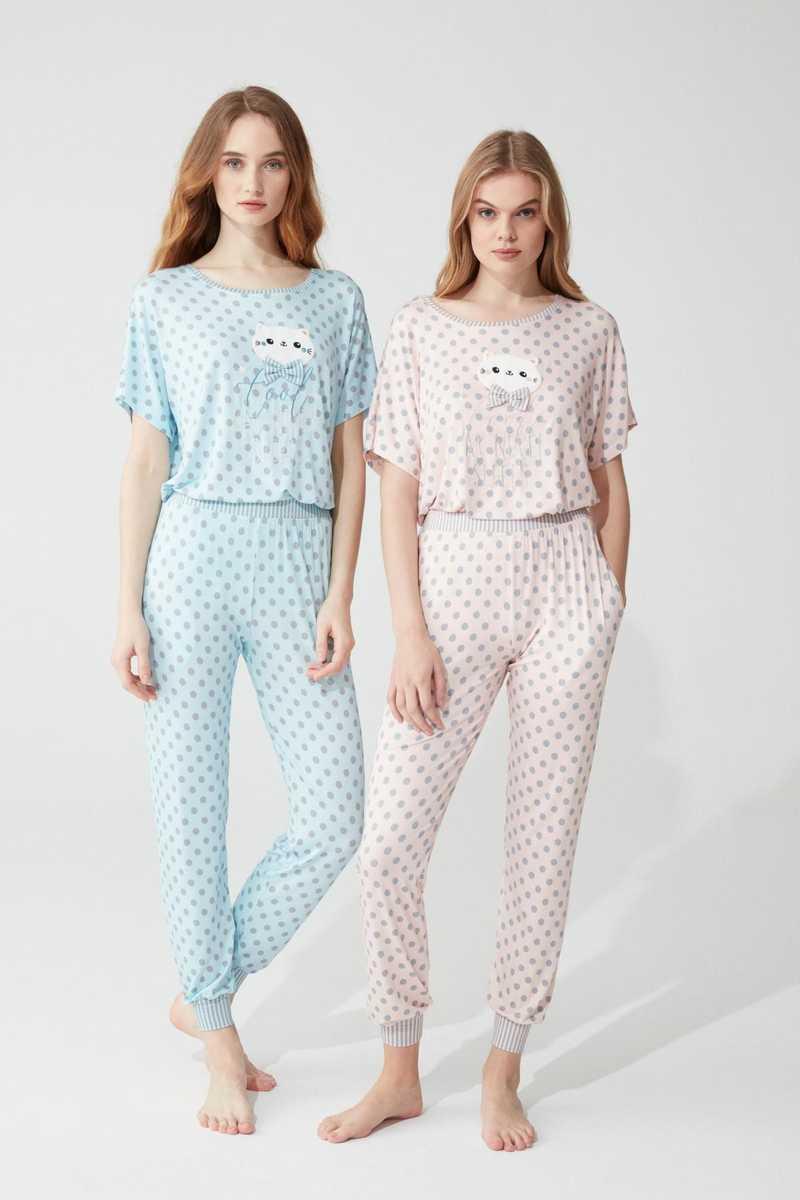 Feyza Kadın 2'li Pijama Takımı Yarım Kol Papyonlu Kedi Desenli Puantiyeli Paça Manşetli - Thumbnail