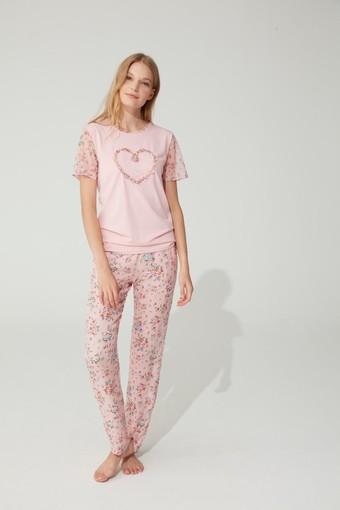 FEYZA - Feyza Kadın 2'li Pijama Takımı Yarım Tül Kol Kalp Motifli Çiçek Desenli (1)