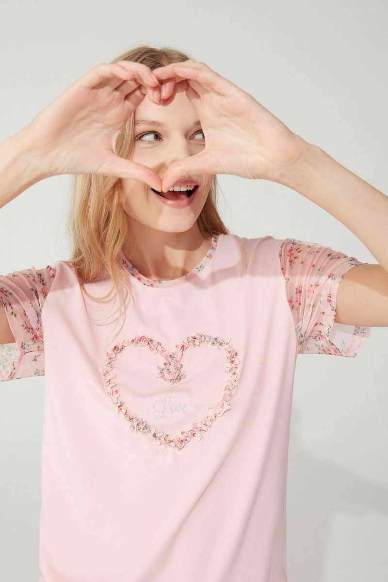 Feyza Kadın Pijama Takımı Yarım Tül Kol Kalp Motifli Çiçek Desenli - Thumbnail