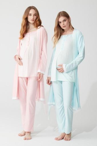 FEYZA - Feyza Kadın Lohusa 3 lü Pijama Takımı Yarım Kol Güpürlü 4 Düğmeli