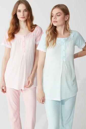 FEYZA - Feyza Kadın Lohusa 3 lü Pijama Takımı Yarım Kol Güpürlü 4 Düğmeli (1)