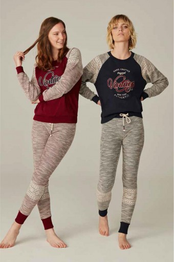 Feyza Kadın Pijama Takımı Uzun Kol Vintage Baskılı - Thumbnail