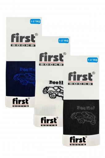 First Erkek Çocuk Külotlu Çorap Yıkamalı Parfümlü Beetle Araba Desenli (6 adet) - Thumbnail